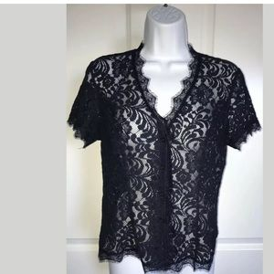 CAbi Navy Lace Top Sheer Blouse London Calling XS